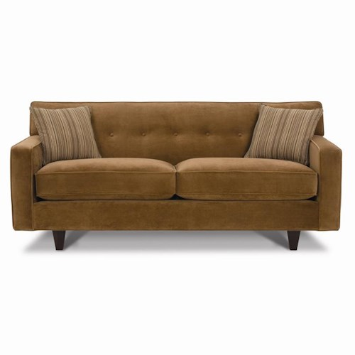 Rowe Dorset Small Button Tufted Sofa with Exposed Wood Feet
