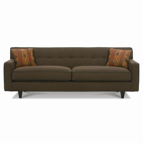 Rowe Dorset King Sofa with Exposed Wood Feet & Button Tufted Back