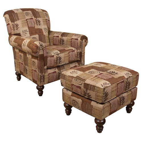 England Eliza Upholstered Traditional Chair and Ottoman Set