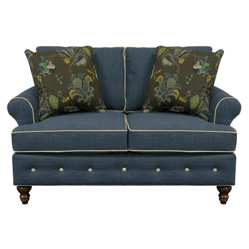 England Evans Living Room Loveseat with Button Tufts
