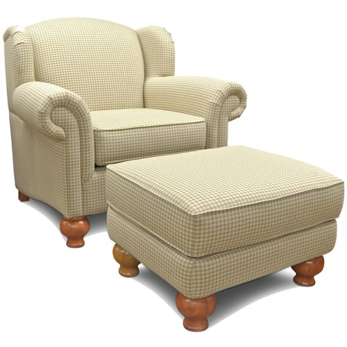 England Fairview Winged Chair and Ottoman