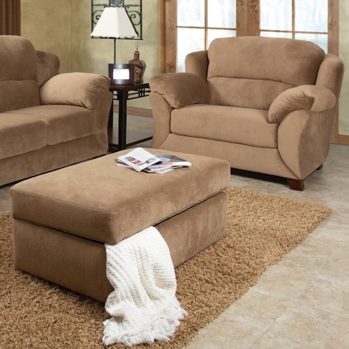 England Geoff  Extra Large Cozy Chair & 1/2 and Ottoman with Casual Furniture Style