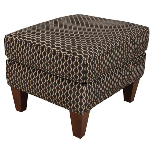 England Gillian Transitional Accent Ottoman with Tapered Legs and Welt Trim