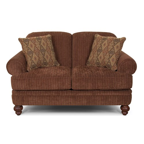 England Kathy Traditional Rolled Arm Loveseat with Accent Pillows