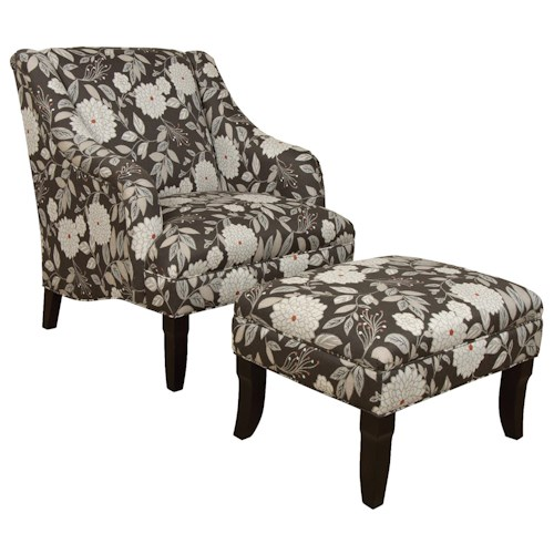 England Kinnett Formal Cottage Themed Chair and Ottoman Set