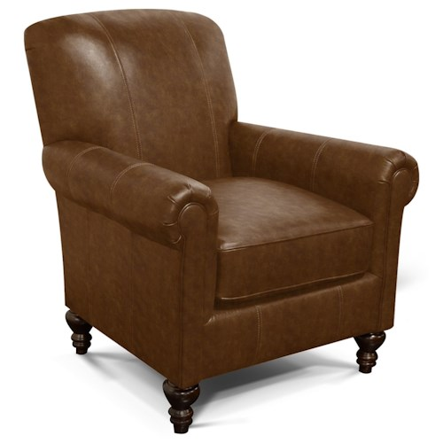 England Lane Traditional Leather Chair with Turned Legs