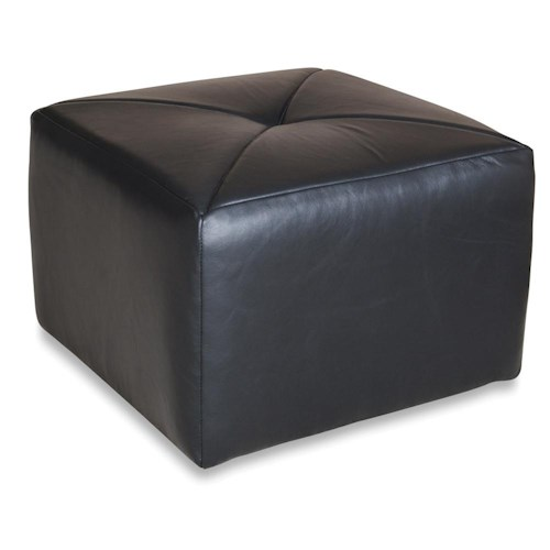 England Linwood Square Leather Ottoman