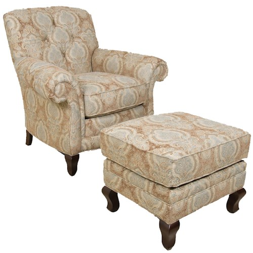 England Christopher Traditional Upholstered Chair and Ottoman