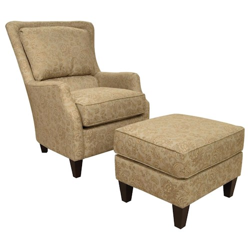England Loren Transitional Styled Accent Chair and Ottoman Set