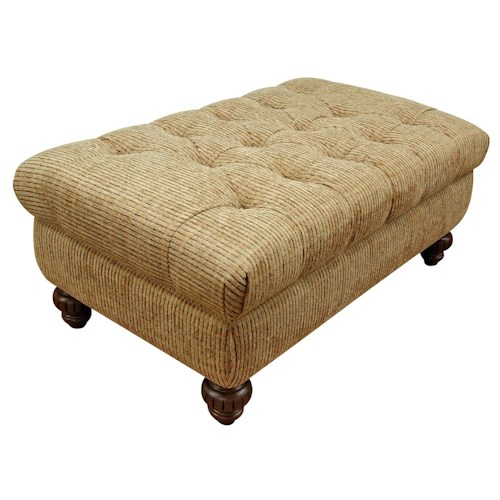 England Loudon Traditional Styled Storage Ottoman with Tufted Seat Cushion
