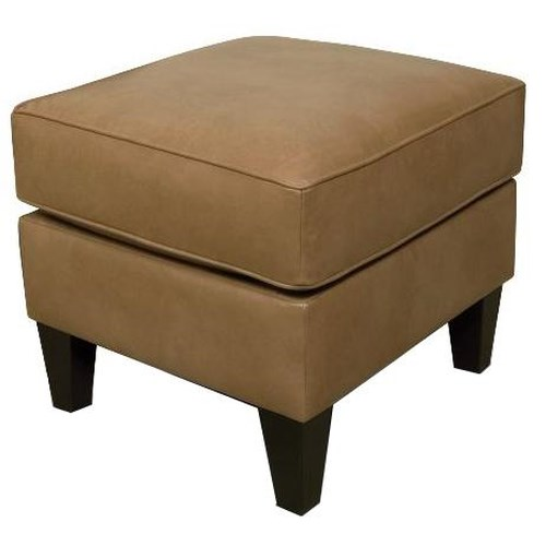 England Louis Ottoman with Exposed Wood Feet