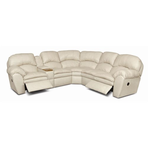 England Oakland Leather Reclining Sectional with Console