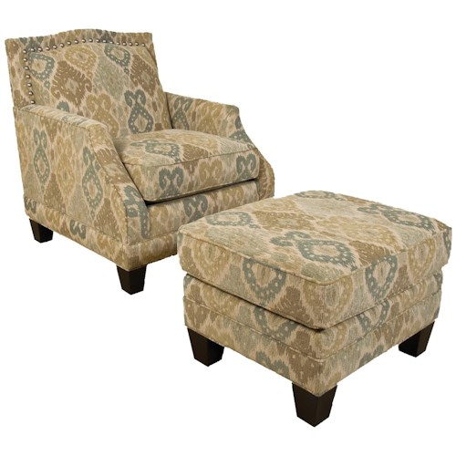 England Paige Traditional Upholstered Chair and Ottoman with Tapered Block Legs