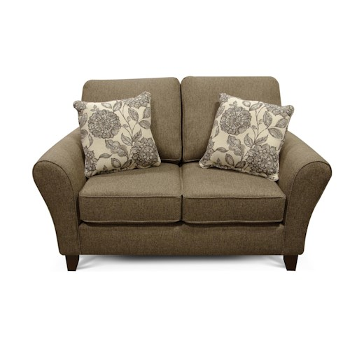 England Paxton Transitional Flared Arm Loveseat with Wooden Legs