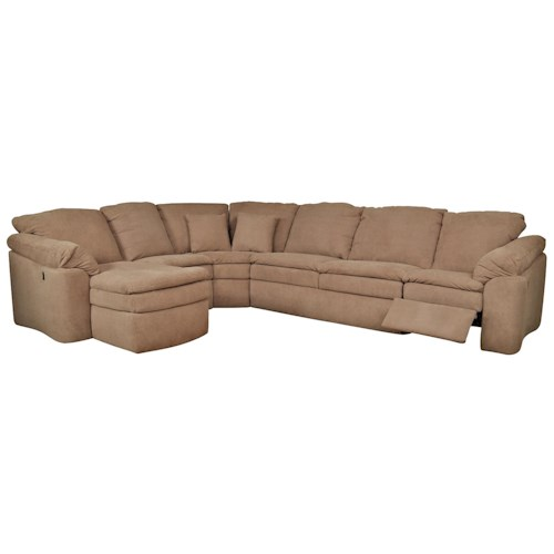 England Seneca Falls Six Seat Sectional Sofa with Attached Chaise Component