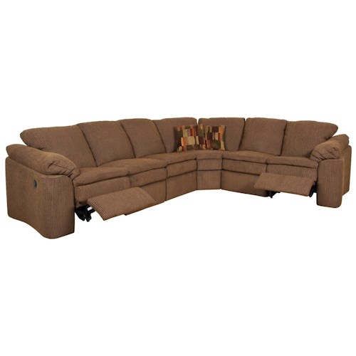 England Seneca Falls Six Person Reclining Sectional Sofa with Corner Construction