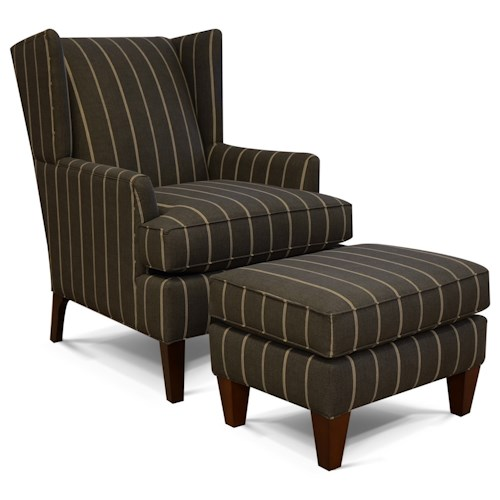 England Shipley Chair and Ottoman Set