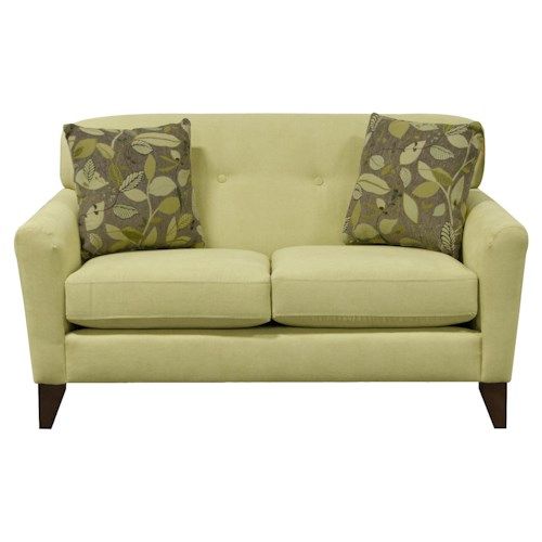 England Shockley Loveseat with Casual Button Tufts