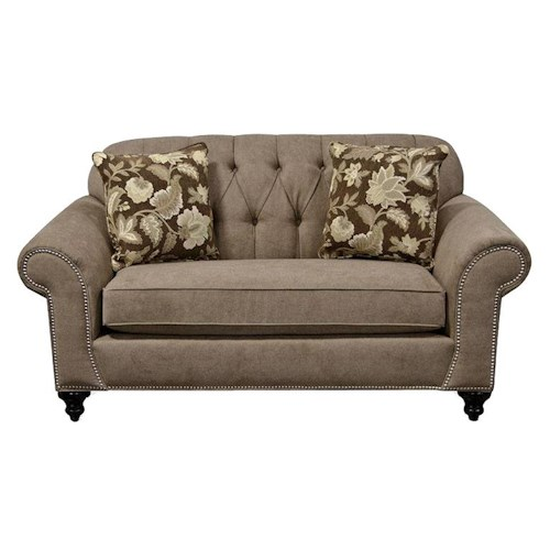 England Stacy Loveseat with Nailheads and Tufted Seat Back