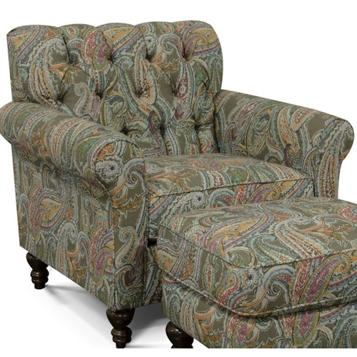 England Vespers Tufted Back Chair with Turned Legs