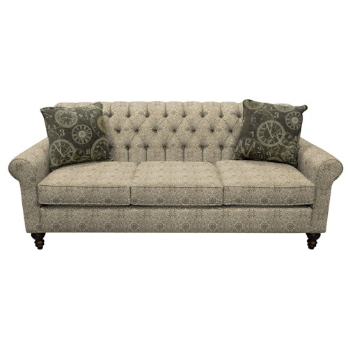 England Vespers Tufted Back Sofa with Turned Legs