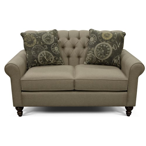 England Vespers Tufted Back Loveseat with Turned Legs