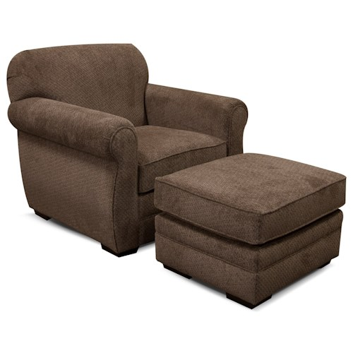 England Xaviar Chair and Ottoman with Casual Style