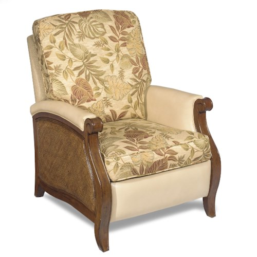 Hooker Furniture Windward Push Recliner with Raffia Accents