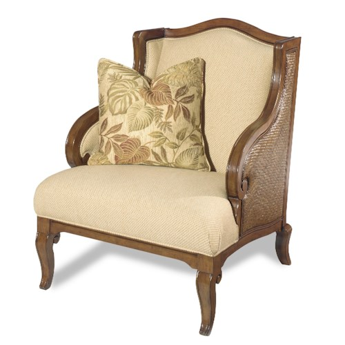 Hooker Furniture Windward Exposed Wood Wing Chair with Raffia Palm Accents
