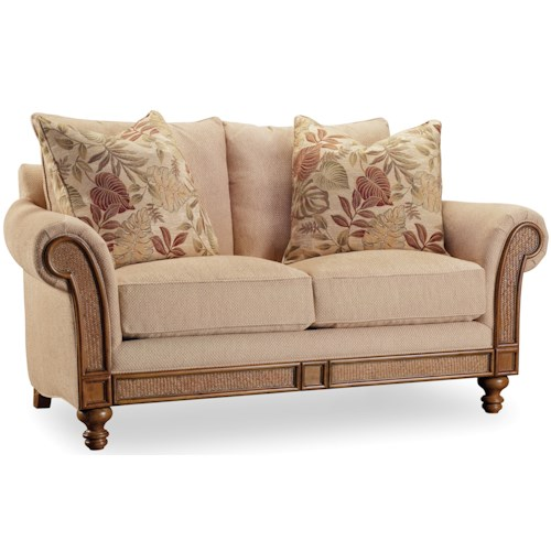 Hooker Furniture Windward Rolled Arm Loveseat with Exposed Wood and Raffia Palm Accents