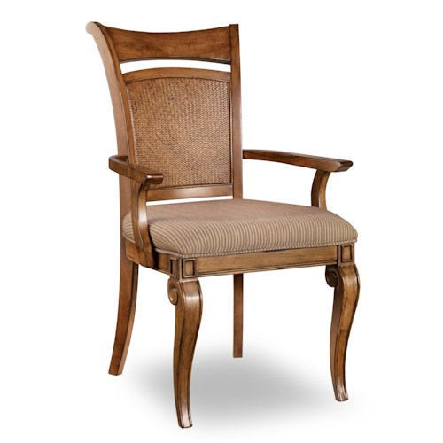 Hooker Furniture Windward Raffia Dining Arm Chair with Fabric Upholstered Seat and Pierced Picture Frame Backrest