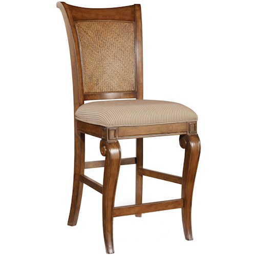 Hooker Furniture Windward Counter Height Stool with Raffia Accents