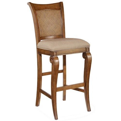 Hooker Furniture Windward Upholstered Bar Stool with Raffia Accents and Scrolled Leg