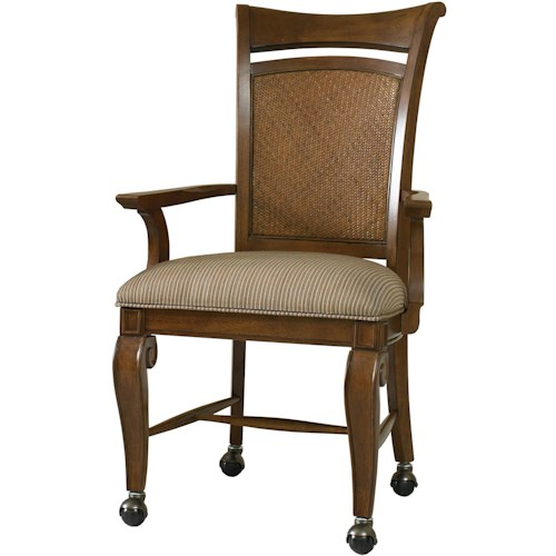Hooker Furniture Windward Dining Arm Chair with Caster Wheel Base & Woven Panel Back Insert