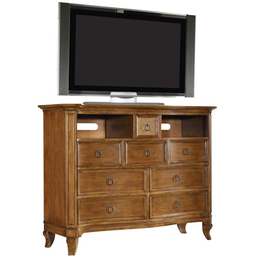 Hooker Furniture Windward Media Chest with 8 Drawers and Raffia Accents