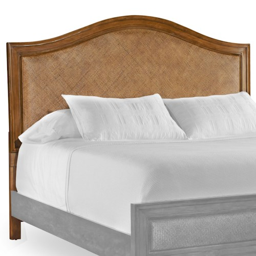 Hooker Furniture Windward Queen-Size Shaped Headboard with Woven Raffia Panel