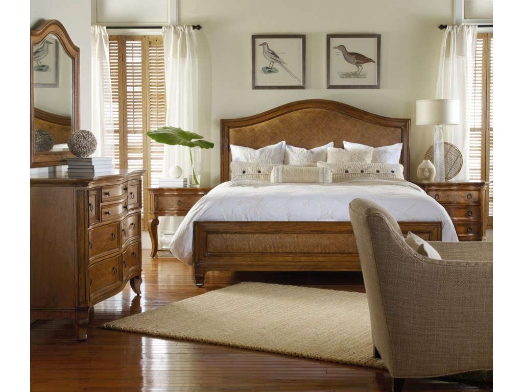 Shown as Component of Complete Raffia Bed, with Dresser, Raffia Mirror and Nightstand