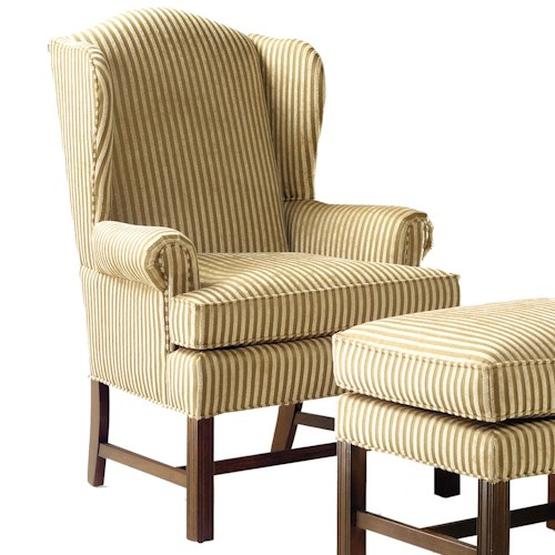 Fairfield 1072 Upholstered Wing Chair with High Exposed Wood Leg