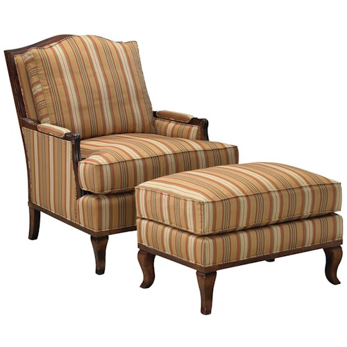Fairfield 1416 Exposed Wood Lounge Chair and Ottoman
