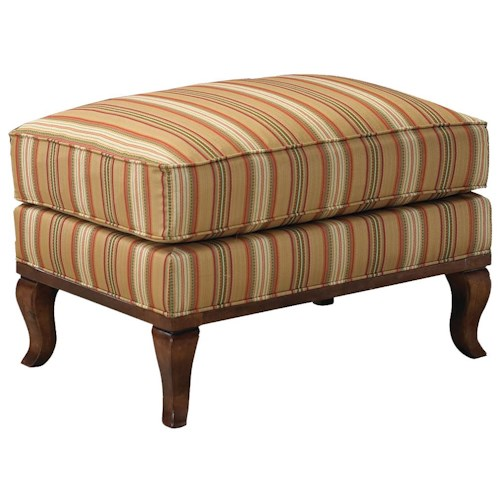 Fairfield 1416 Ottoman with Exposed Wood Cabriole Legs