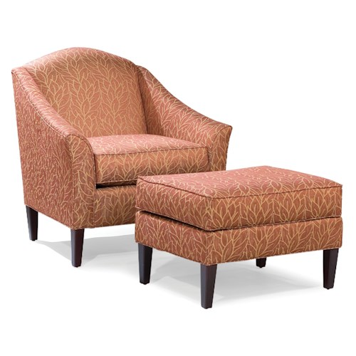 Fairfield 2710 Chair and Ottoman with Tall Wood Legs