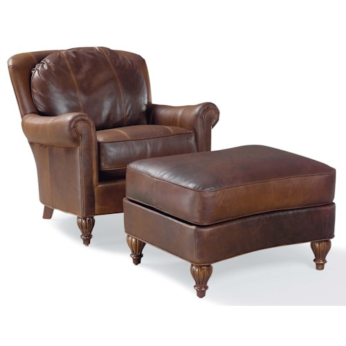 Fairfield 3724 Traditional Chair and Ottoman with Turned Wood Feet