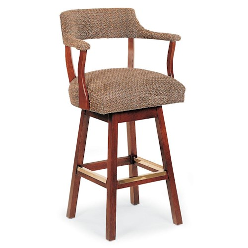 Fairfield Barstools Wooden Swivel Bar Stool With Upholstered Cushions