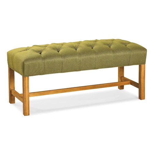Fairfield Benches Button-Tufted Bench with Straight Wood Legs