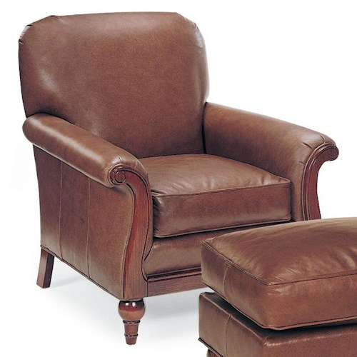 Fairfield Chairs Leather Lounge Chair with Exposed Wood