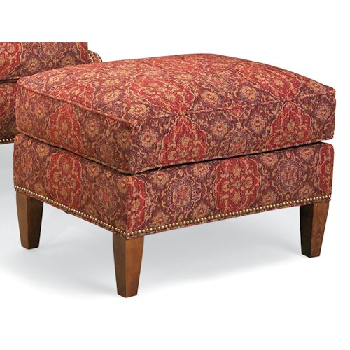 Fairfield Chairs Ottoman with Nailhead Trim and Wood Legs