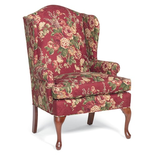Fairfield Chairs Upholstered Wing Chair with Cabriole Legs