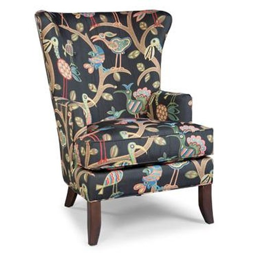 Fairfield Chairs Contemporary Wing Chair with Exposed Wood Legs