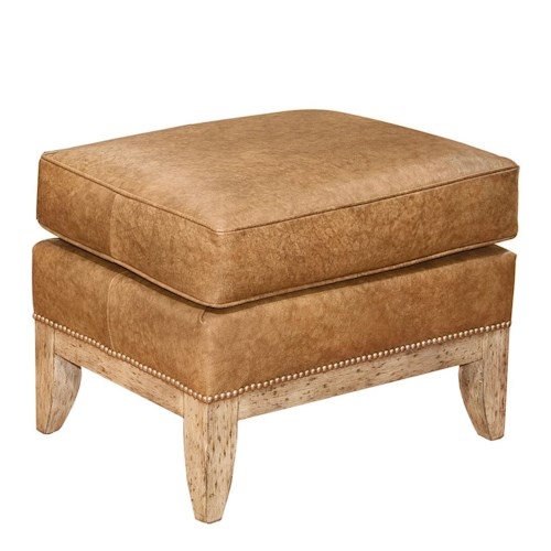 Fairfield Chairs Leather Ottoman with Nailhead Trim