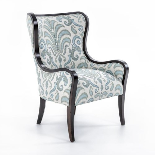 Fairfield Chairs Upholstered Wing Chair with Exposed Wood